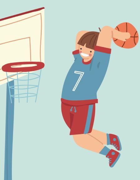 50 Free Cartoon Kid Characters : 66. Pre-Teen Boy Basketball Superstar Free Character Vector