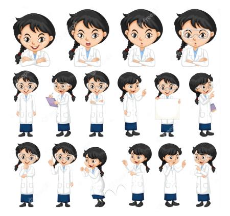 50 Free Cartoon Kid Characters : 68. Cute Pre-Teen Scientist Girl Free Character