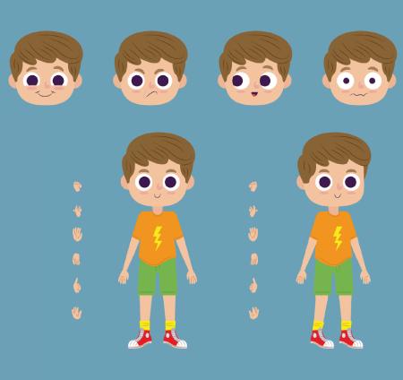 50 Free Cartoon Kid Characters : 69. Cute Pre-Teen Boy Free Character Poses Maker