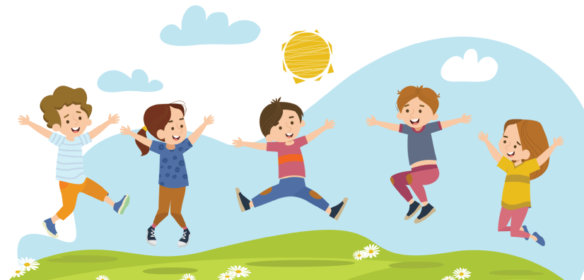 50 Free Cartoon Kid Characters : 70. Happy Children Jumping in Summer Free Vector Characters