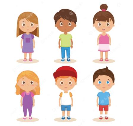 50 Free Cartoon Kid Characters : 49. Cute Preschool Kids Free Vector Set Part 1