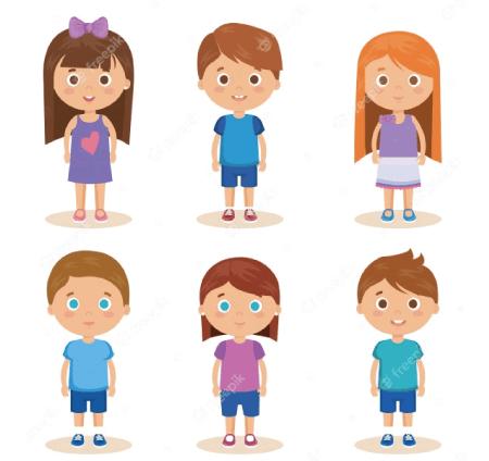50 Free Cartoon Kid Characters : 50. Cute Preschool Kids Free Vector Set Part 2
