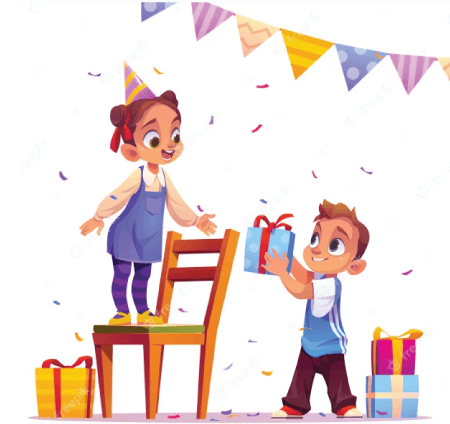 50 Free Cartoon Kid Characters : 52. Birthday Girl Receives a Gift Free Character Illustration