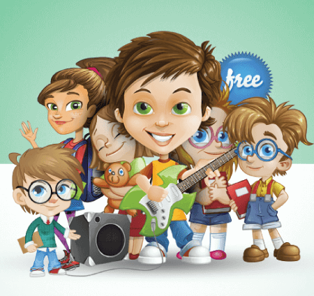 50 Free Cartoon Kid Characters : 53. Free Vector Kids of Different Ages Characters Collection