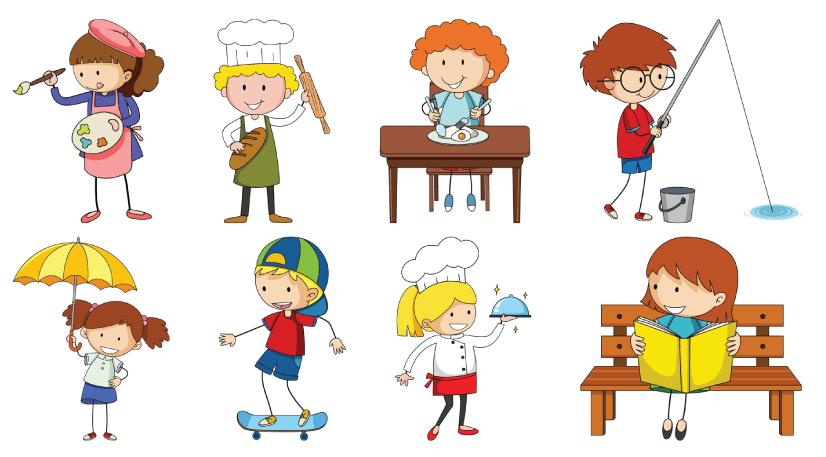 50 Free Cartoon Kid Characters : 54. Cute Doodle Kids Characters Free Set