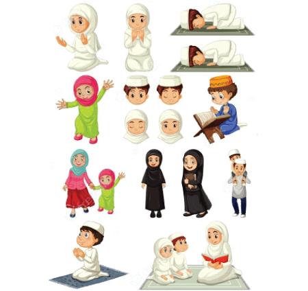 50 Free Cartoon Kid Characters : 55. Little Muslim Children Free Character Set