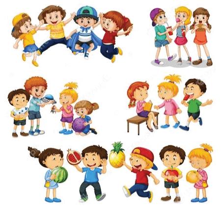 50 Free Cartoon Kid Characters : 56. Kids Playing Free Character Vector Set