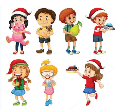 50 Free Cartoon Kid Characters : 57. Boys and girls Playing with Toys Free Set