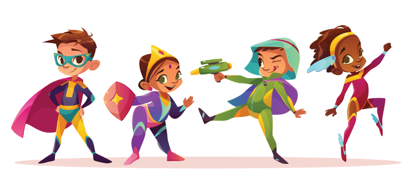 50 Free Cartoon Kid Characters : 59. Happy Children Superheroes Characters Free Vector Set