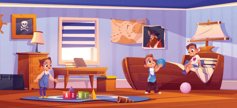 50 Free Cartoon Kid Characters : 51. Boys and Girls Characters Playing Free Cartoon Illustration