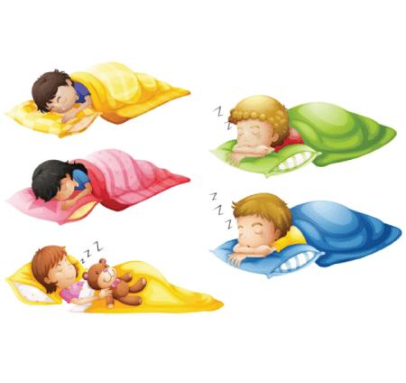 50 Free Cartoon Kid Characters : 60. Little Preschool Kids Sleepover Free Set