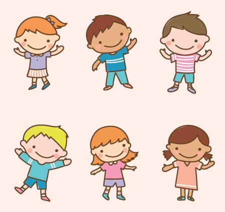 50 Free Cartoon Kid Characters : 61. Outline Style Cute Preschooler Free Set