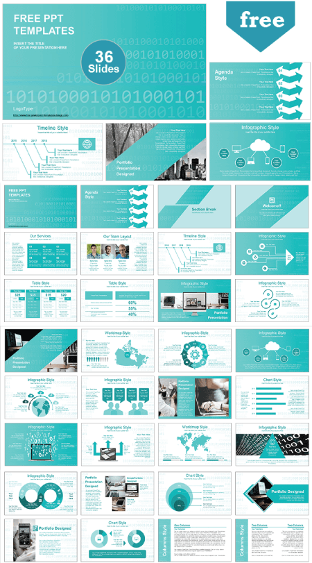28 Free Technology PowerPoint Templates: Binary Code