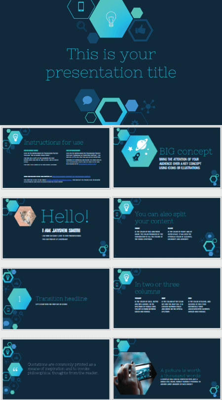 28 Free Technology PowerPoint Templates: Hexagonal Design