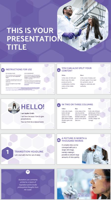 28 Free Technology PowerPoint Templates: Purple Hexagons