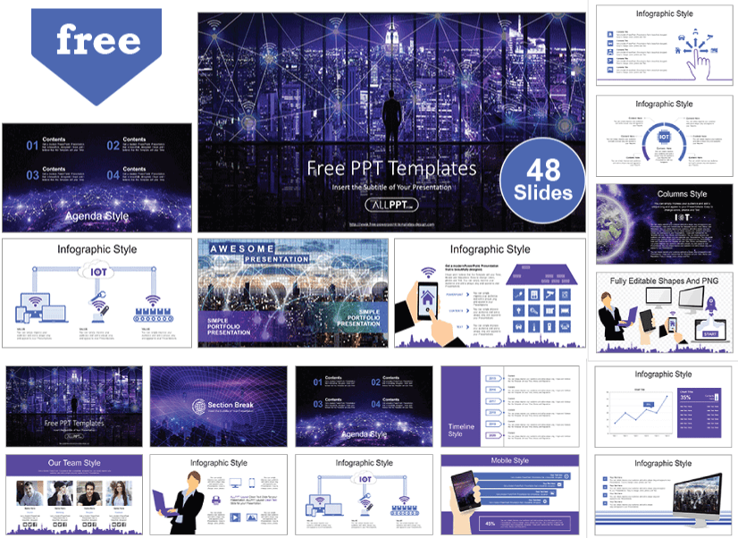 28 Free Technology PowerPoint Templates: IOT Smart City