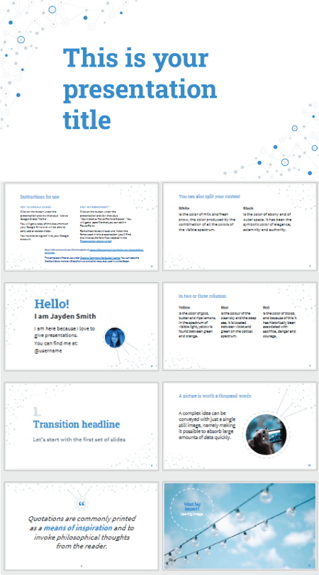 28 Free Technology PowerPoint Templates: Blue Connections