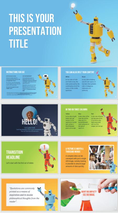 28 Free Technology PowerPoint Templates: Cute Robots