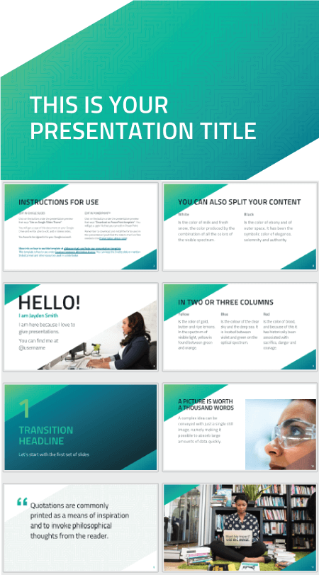 28 Free Technology PowerPoint Templates: Green Circuit