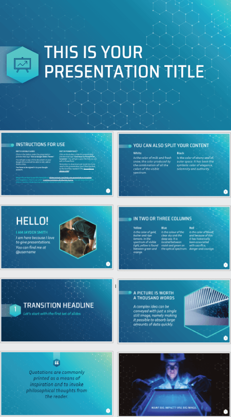 28 Free Technology PowerPoint Templates: Science Hexagons