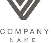 V shape logo company black