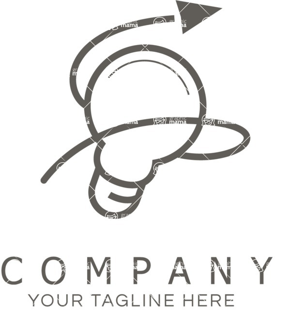 Business Logo Templates - vector graphics in a pack from GraphicMama - Business logo lightbulb black