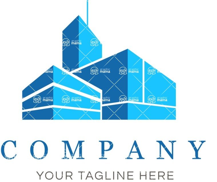 Business Logo Templates - vector graphics in a pack from GraphicMama - Business logo cityscape color