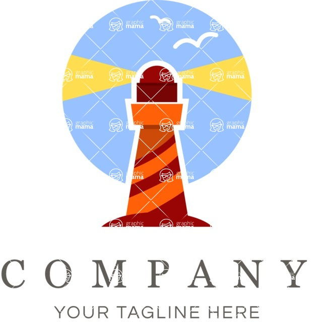 Business Logo Templates - vector graphics in a pack from GraphicMama - Business logo lighthouse color
