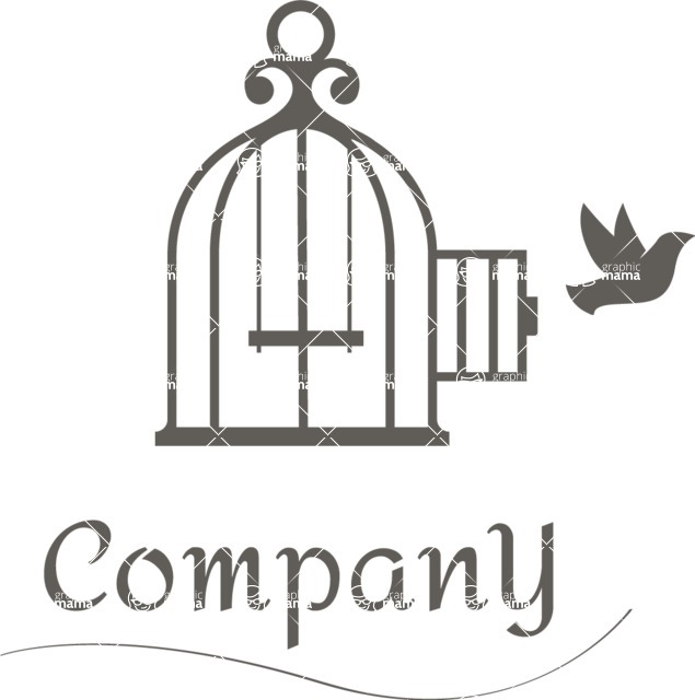 Business Logo Templates - vector graphics in a pack from GraphicMama - Company logo bird cage black