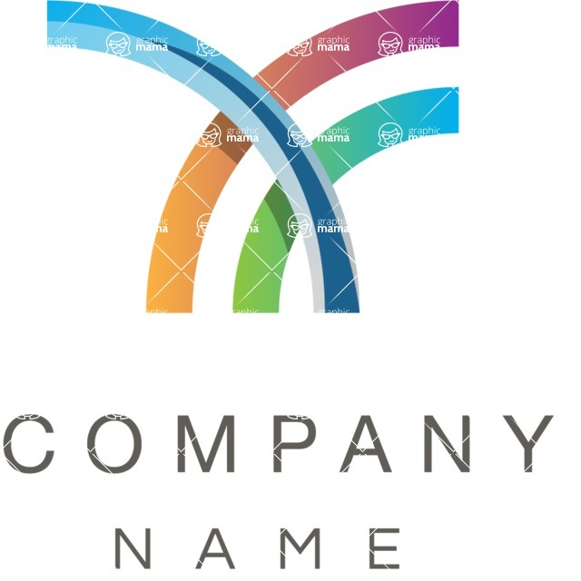 Business Logo Templates - vector graphics in a pack from GraphicMama - Simple curves business logo color