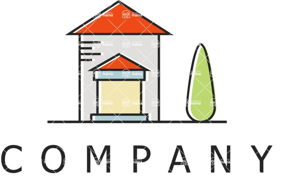 Business Logo Templates - vector graphics in a pack from GraphicMama - House company logo color
