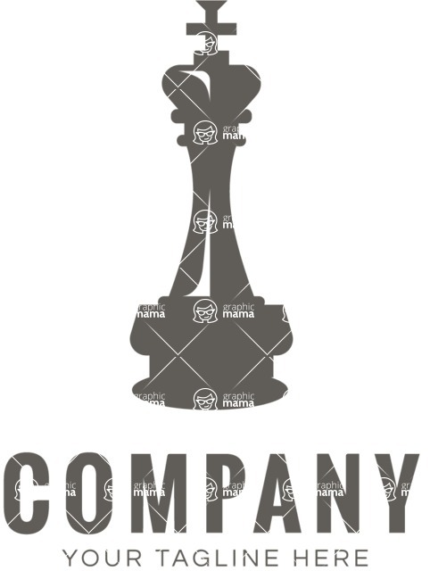 Business Logo Templates - vector graphics in a pack from GraphicMama - Company logo chess piece black