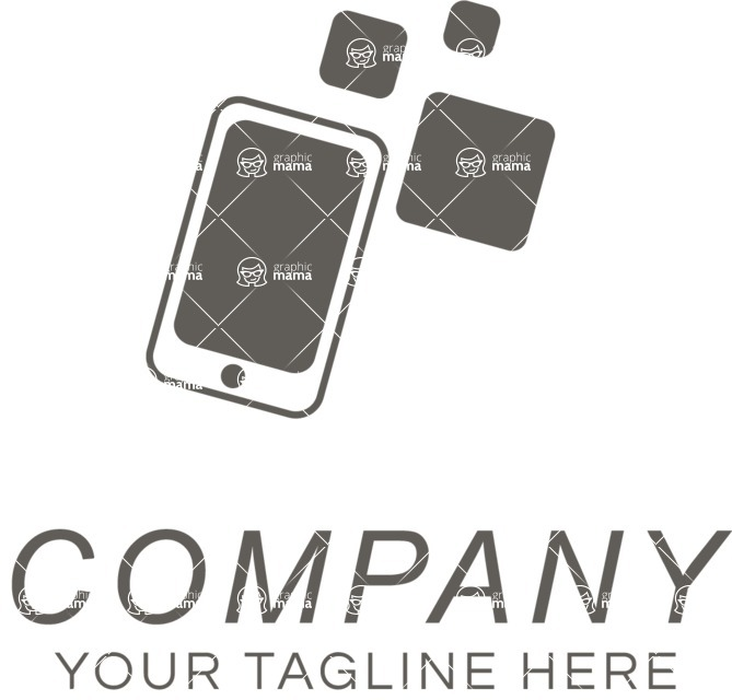 Business Logo Templates - vector graphics in a pack from GraphicMama - Company logo mobile black