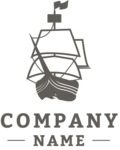 Business Logo Templates - vector graphics in a pack from GraphicMama - Sea Company Logo Design with Old Ship - Black and White