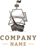Business Logo Templates - vector graphics in a pack from GraphicMama - Sea Company Logo Design with Old Ship