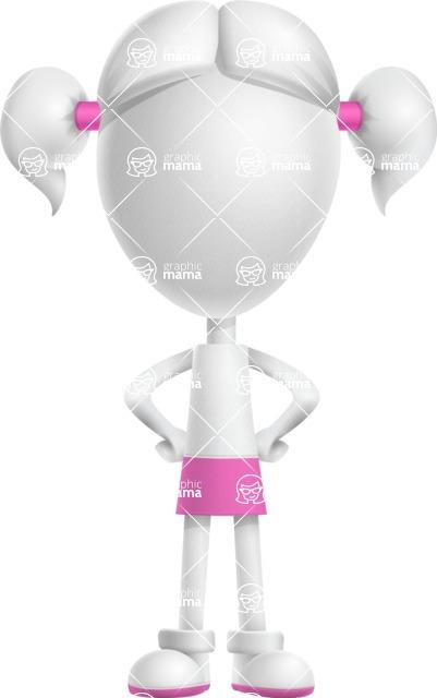 Cute Vector 3D Schoolgirl Cartoon Character AKA Annie Pigtails - Normal