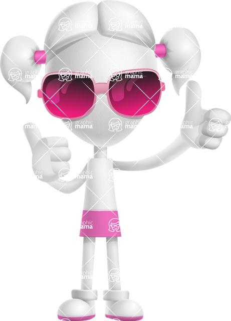 Cute Vector 3D Schoolgirl Cartoon Character AKA Annie Pigtails - Sunglasses