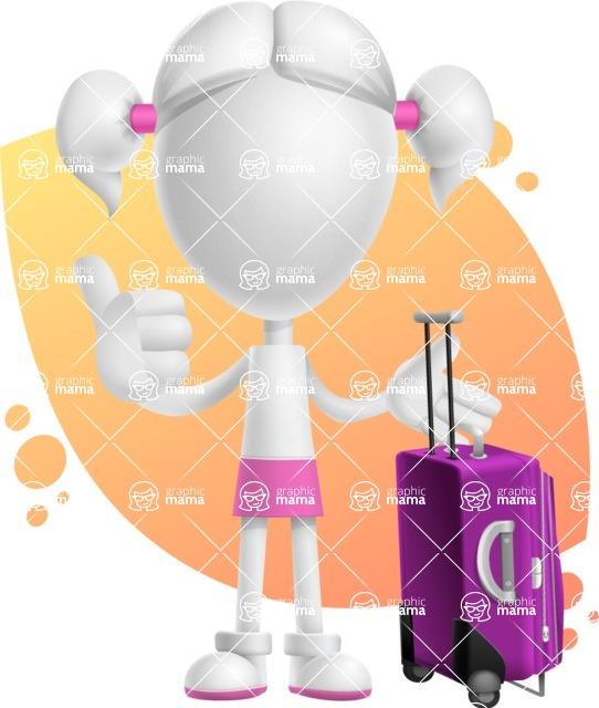 Cute Vector 3D Schoolgirl Cartoon Character AKA Annie Pigtails - Shape 8