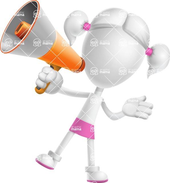 Cute Vector 3D Schoolgirl Cartoon Character AKA Annie Pigtails - Loudspeaker