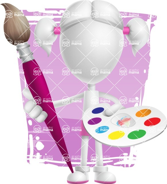 Cute Vector 3D Schoolgirl Cartoon Character AKA Annie Pigtails - Shape 11