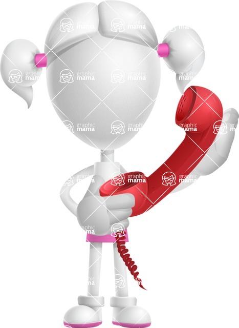 Cute Vector 3D Schoolgirl Cartoon Character AKA Annie Pigtails - Phone