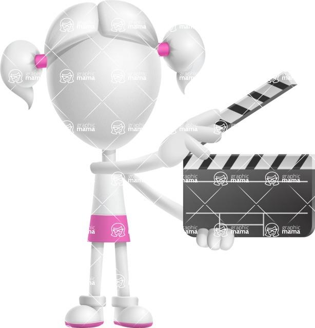 Cute Vector 3D Schoolgirl Cartoon Character AKA Annie Pigtails - Movie