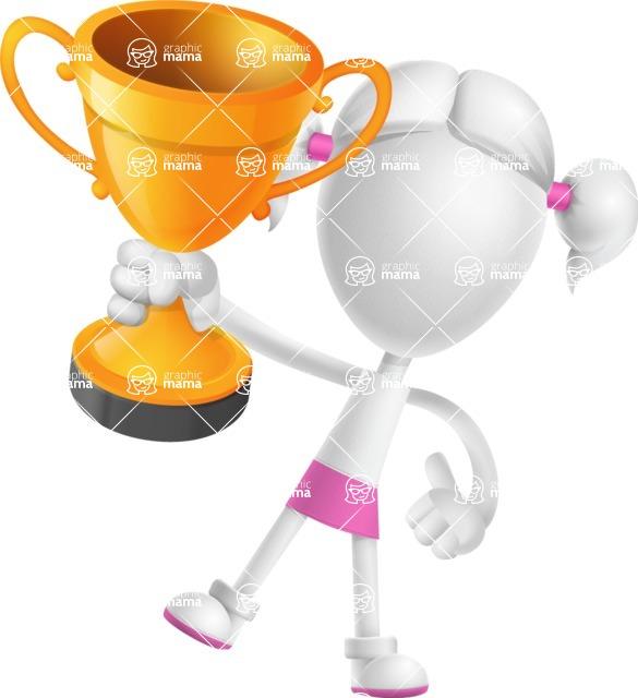 Cute Vector 3D Schoolgirl Cartoon Character AKA Annie Pigtails - Gold Cup