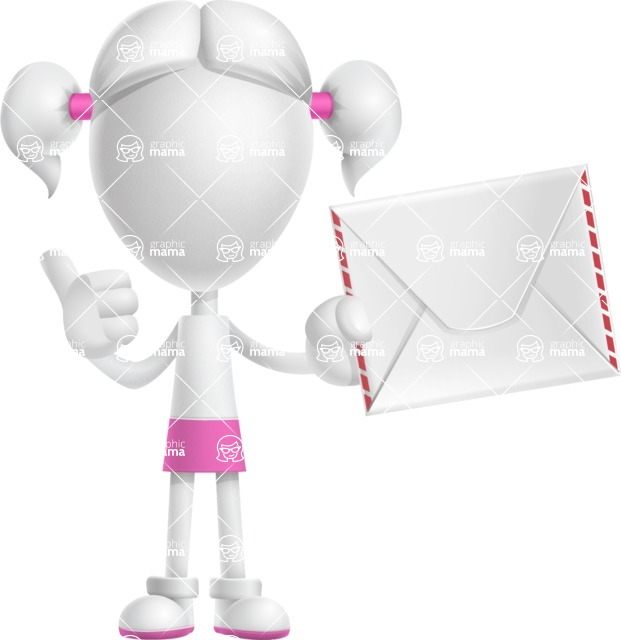 Cute Vector 3D Schoolgirl Cartoon Character AKA Annie Pigtails - Letter