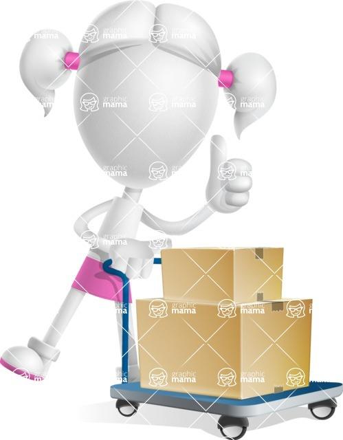 Cute Vector 3D Schoolgirl Cartoon Character AKA Annie Pigtails - Pushcart