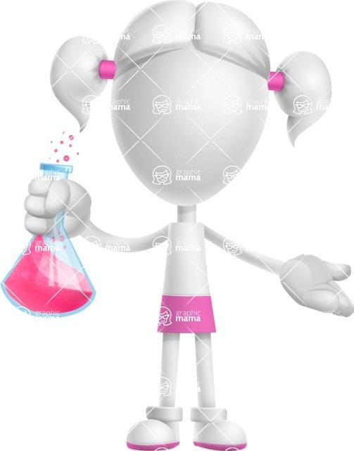 Cute Vector 3D Schoolgirl Cartoon Character AKA Annie Pigtails - Flask
