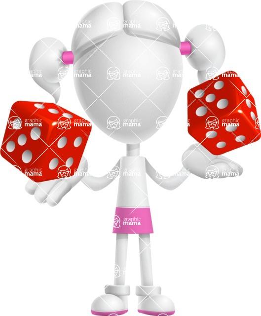 Cute Vector 3D Schoolgirl Cartoon Character AKA Annie Pigtails - Lucky