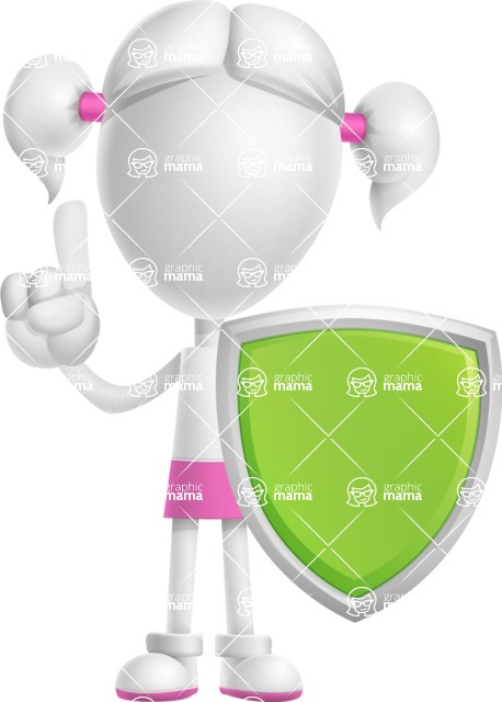 Cute Vector 3D Schoolgirl Cartoon Character AKA Annie Pigtails - Shield