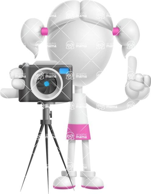 Cute Vector 3D Schoolgirl Cartoon Character AKA Annie Pigtails - Photo