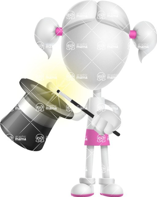 Cute Vector 3D Schoolgirl Cartoon Character AKA Annie Pigtails - Abracadabra
